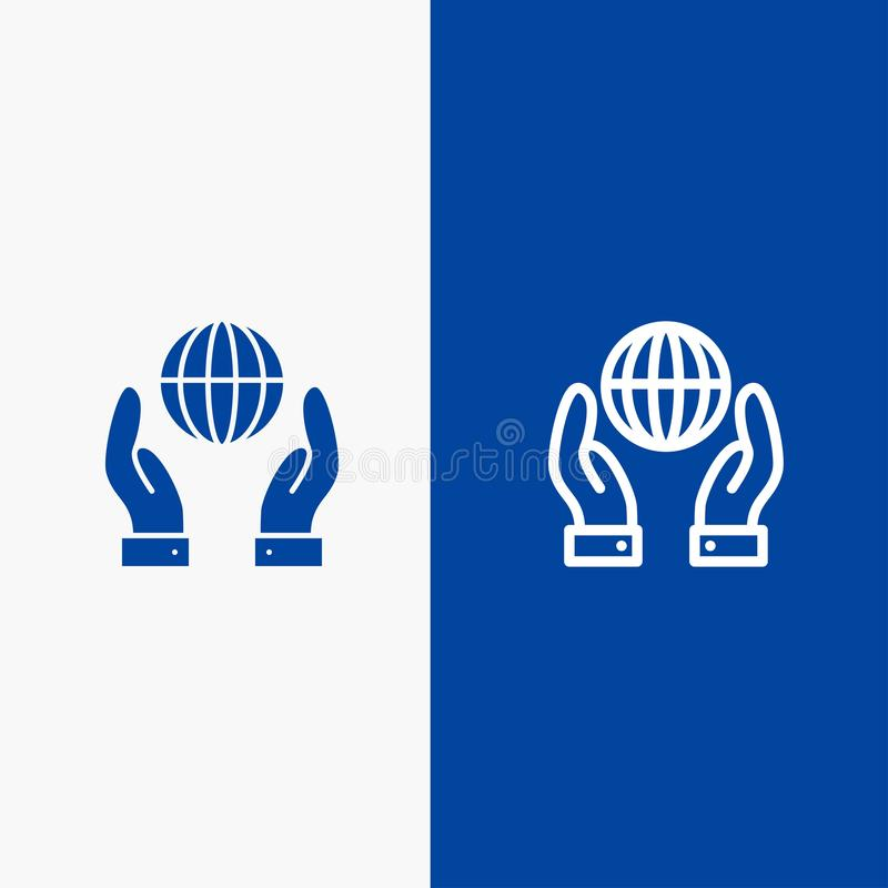 Biosphere, Conservation, Energy, Power Line and Glyph Solid icon Blue banner Line and Glyph Solid icon Blue banner royalty free illustration
