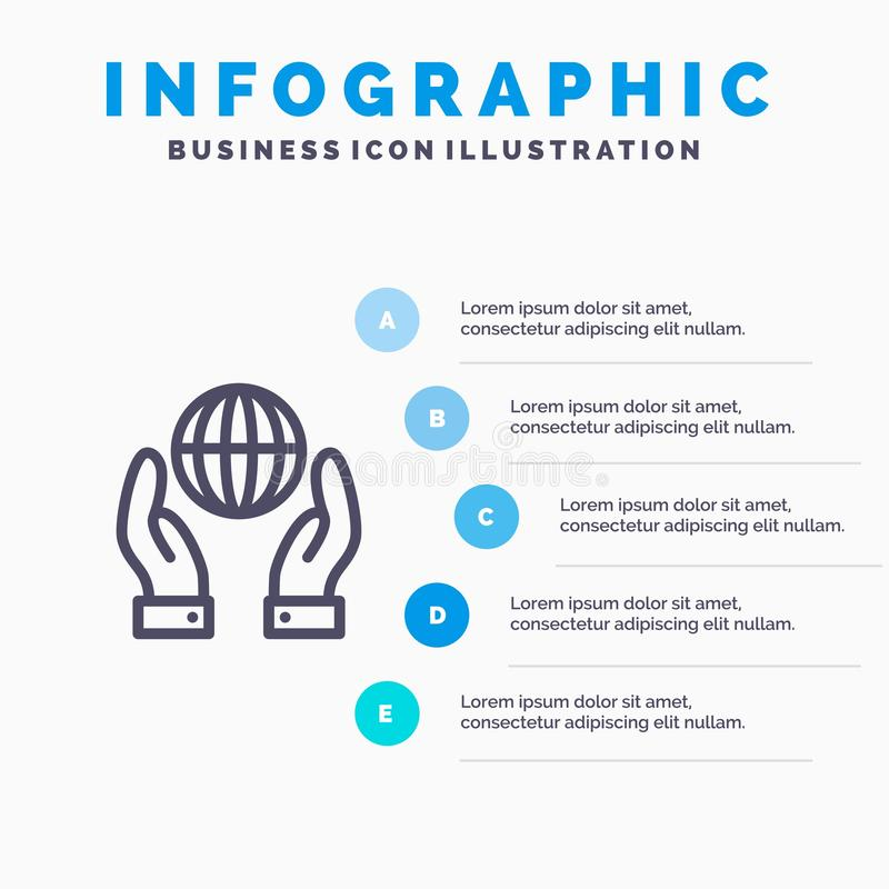 Biosphere, Conservation, Energy, Power Line icon with 5 steps presentation infographics Background royalty free illustration