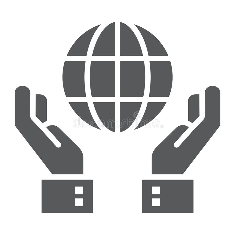 Biosphere conservation glyph icon. Ecology and energy, hands holding earth sign, vector graphics, a solid pattern on a white background, eps 10 vector illustration