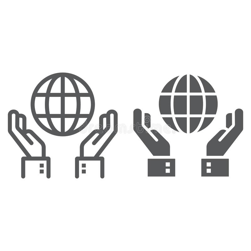 Biosphere conservation line and glyph icon. Ecology and energy, hands holding earth sign, vector graphics, a linear pattern on a white background, eps 10 stock illustration