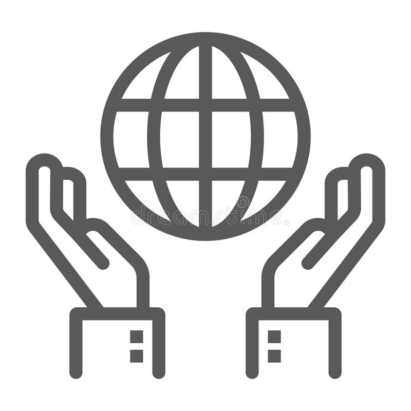 Biosphere conservation line icon, ecology. And energy, hands holding earth sign, vector graphics, a linear pattern on a white background, eps 10 stock illustration