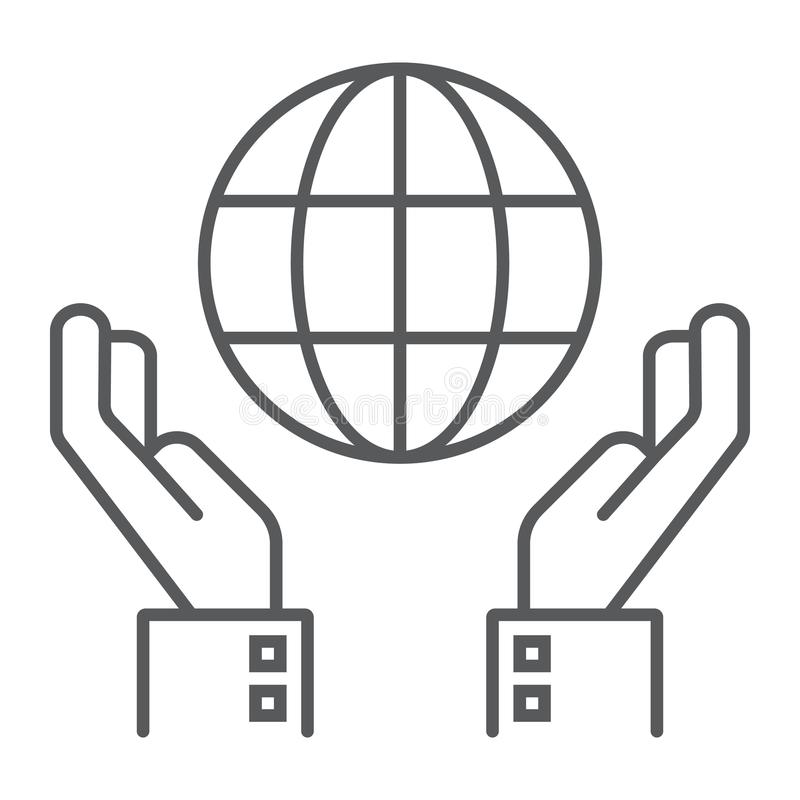Biosphere conservation thin line icon. Ecology and energy, hands holding earth sign, vector graphics, a linear pattern on a white background, eps 10 vector illustration