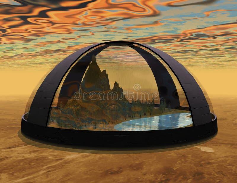 Biosphere. Digital rendering of a science fiction biosphere royalty free illustration