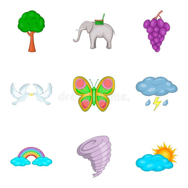 Biosphere icons set, cartoon style. Biosphere icons set. Cartoon set of 9 biosphere vector icons for web isolated on white background stock illustration