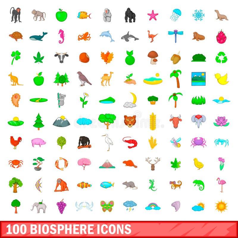 100 biosphere icons set, cartoon style. 100 biosphere icons set in cartoon style for any design vector illustration vector illustration