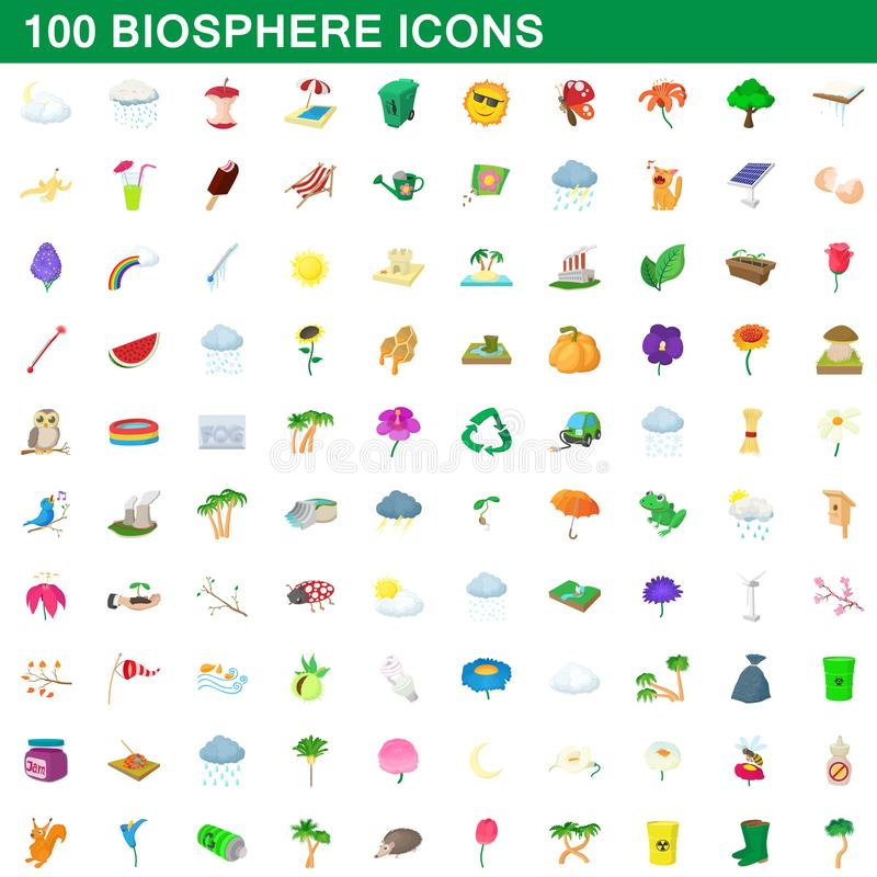 100 biosphere icons set, cartoon style. 100 biosphere icons set in cartoon style for any design illustration vector illustration