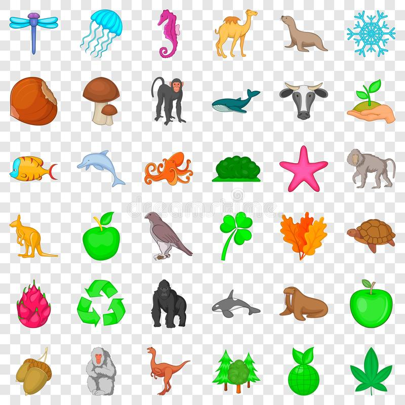 Biosphere icons set, cartoon style. Biosphere icons set. Cartoon style of 36 biosphere vector icons for web for any design royalty free illustration