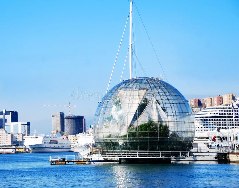 The Biosphere by Renzo Piano in the port of Genoa, Italy stock images