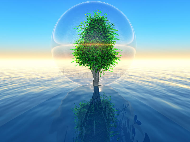 Biosphere. A tree inside a transparent bubble over the sea on sunset background stock illustration