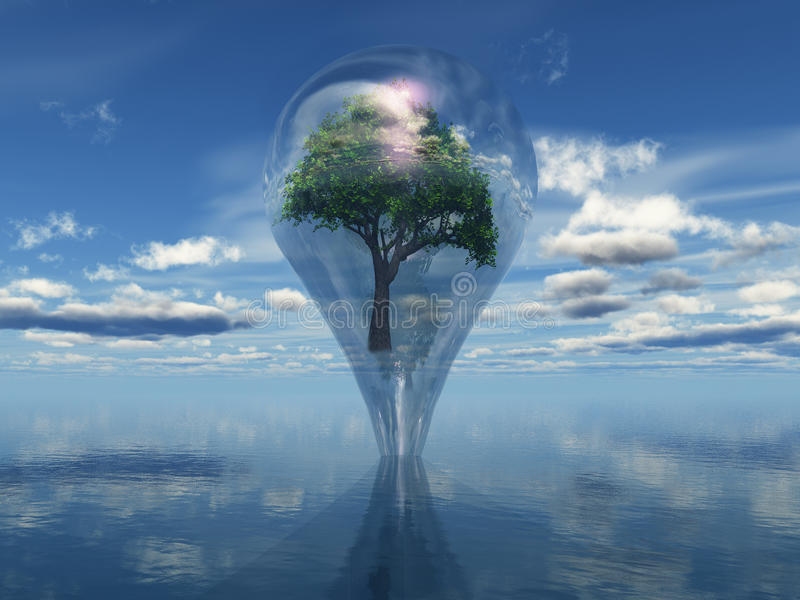 Biosphere. A water drop up from the ocean with a tree inside stock illustration