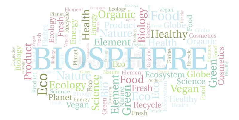 Biosphere word cloud. Wordcloud made with text only royalty free illustration