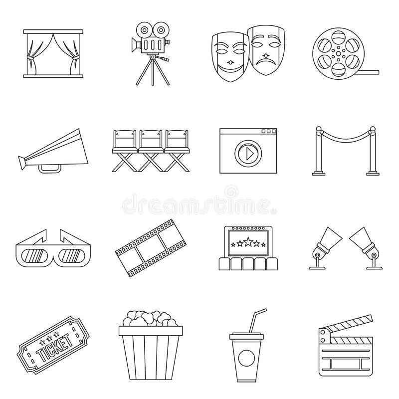 Biosymbolsuppsättning, översiktsstil stock illustrationer