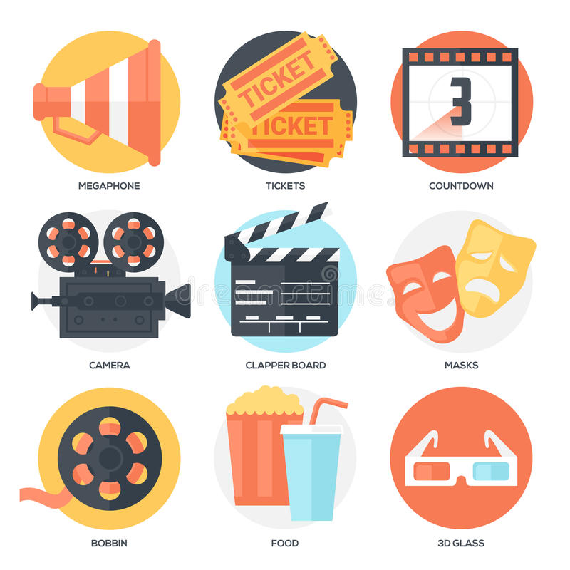 Biosymbolsuppsättning (megafon, biljetter, nedräkning, kamera, Clapperbräde, maskeringar, spole, popcorn och drink, exponeringsgl stock illustrationer