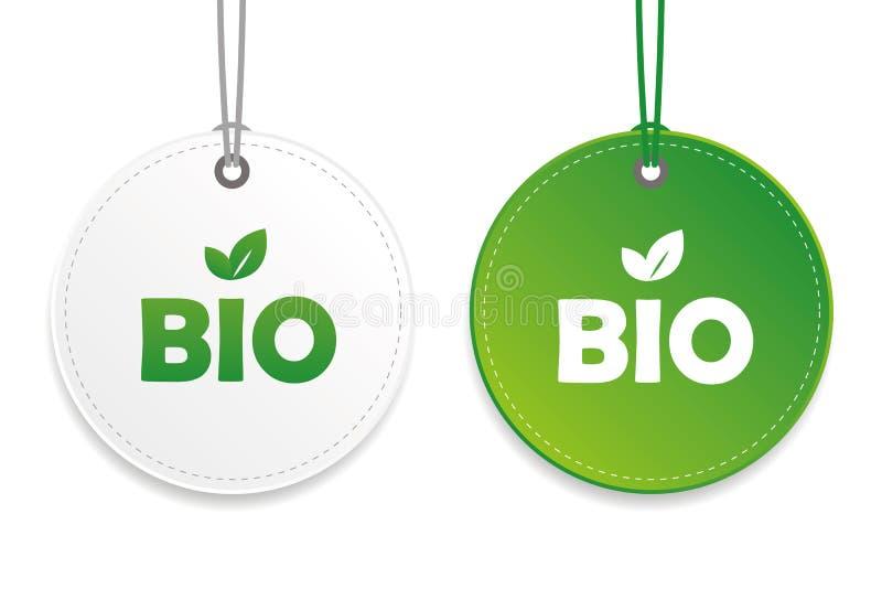Biotag des typographiebiologischen lebensmittels und Aufkleber grün und weiße Gestaltungselemente lokalisiert auf einem weißen Hi lizenzfreie abbildung
