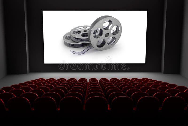 Bioteatern med rullar av filmar på avskärma. royaltyfri illustrationer