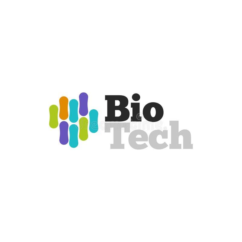 Biotech-embleem vectorsymbool, biotechnologie logotype moleculaire structuur, genetisch micro-organisme royalty-vrije illustratie