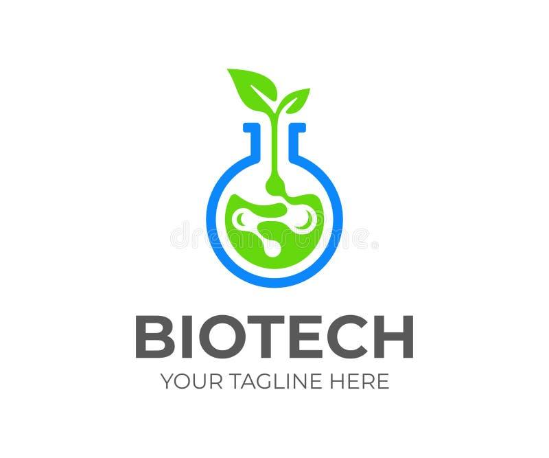 Biotech-embleemontwerp Het vectorontwerp van biochemieverbindingen stock illustratie