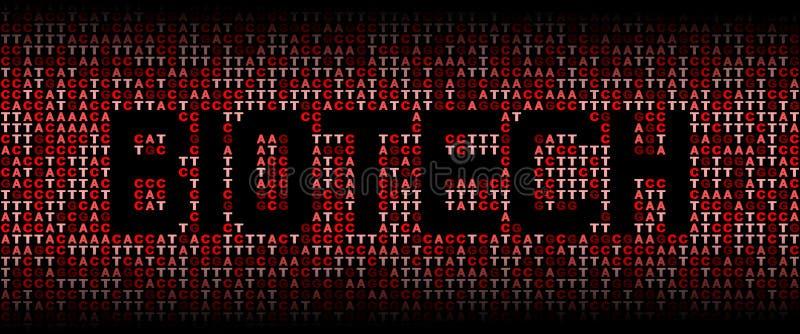 Biotech-tekst op de code van DNA genetische illustratie als achtergrond vector illustratie