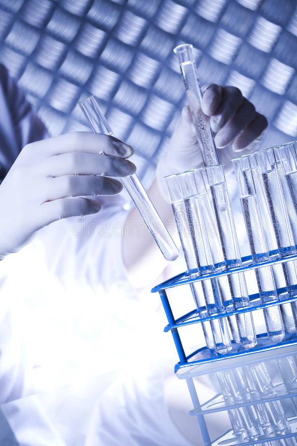 Biotechnologia, Chemiczny laborancki glassware fotografia royalty free