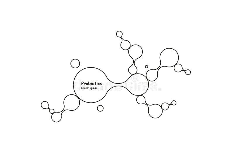 biotechnologia Symbol molekuła Wektorowy loga szablon Abstrakcjonistyczny molekuła wektoru szablon Nanotechnologia rozwój royalty ilustracja