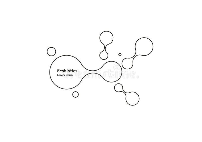 biotechnologie Symboolmolecule Vectorembleemmalplaatje Abstract molecule vectormalplaatje Nanotechnologieontwikkeling royalty-vrije illustratie