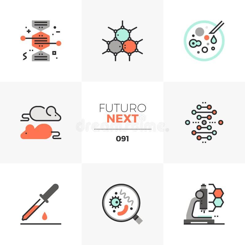 Biotechnologii Futuro Następne ikony royalty ilustracja