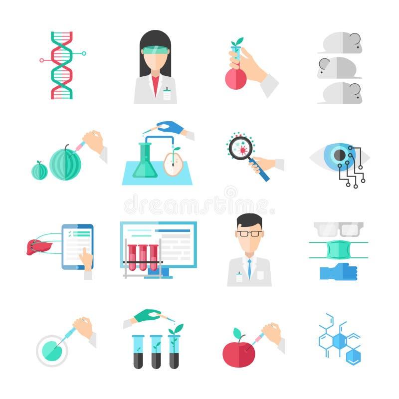Biotechnology Flat Icons Set vector illustration