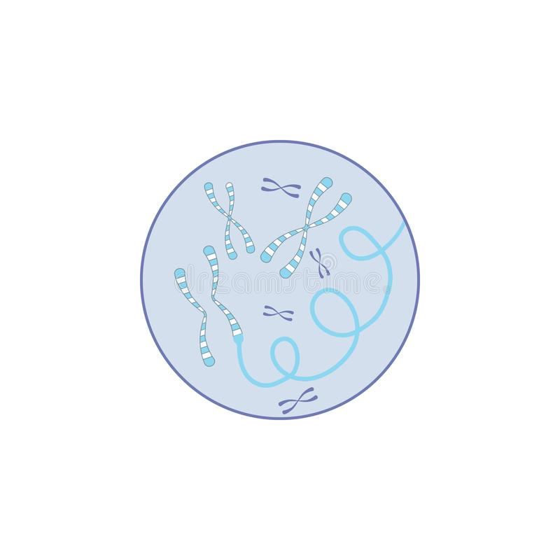 Biotechnology, gene in badge icon. Element of biotechnology color icon. On white background vector illustration
