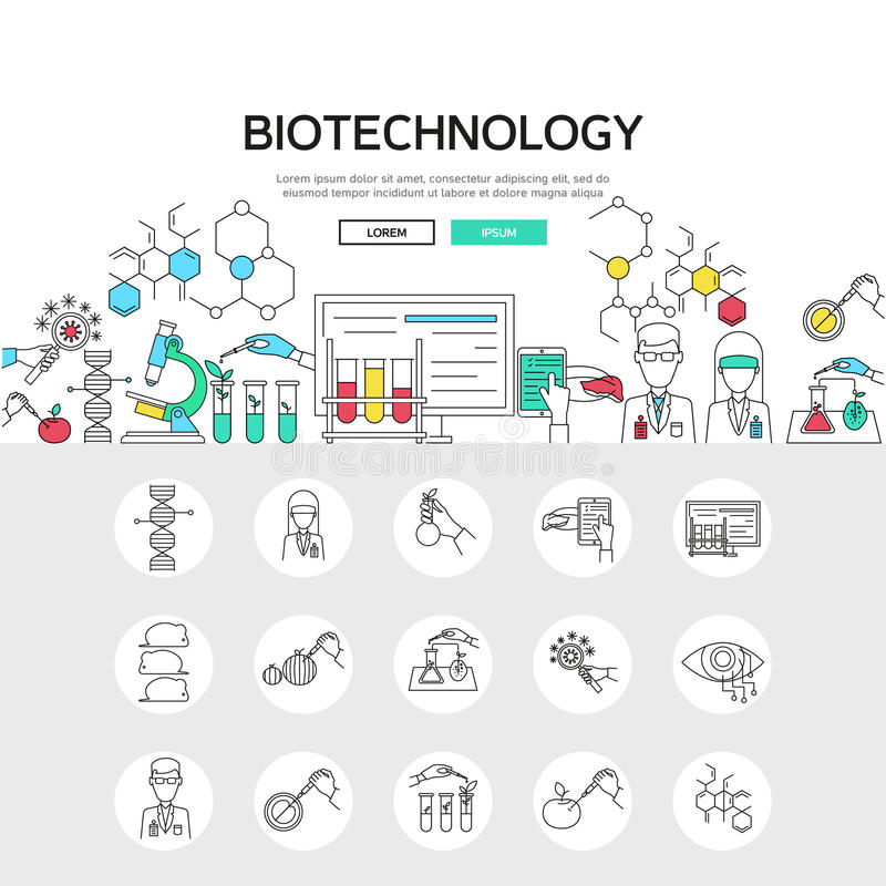 Biotechnology Linear Concept vector illustration
