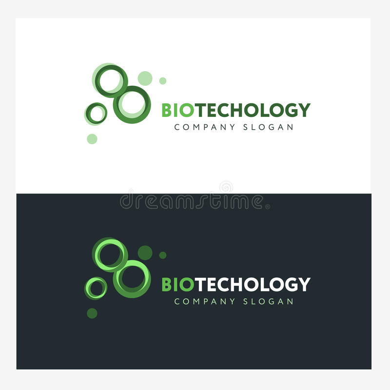 biotechnology logo design template with abstract green