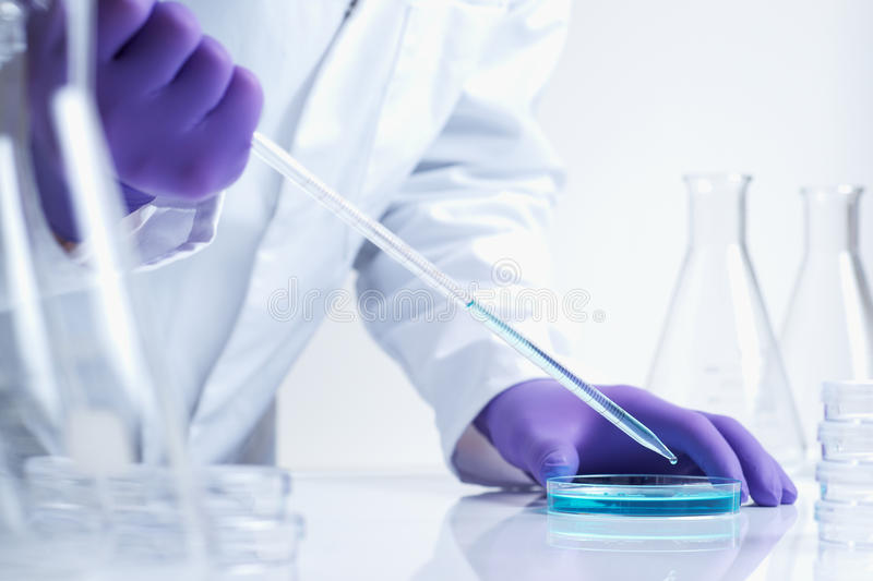 Biotechnology research in laboratory stock images