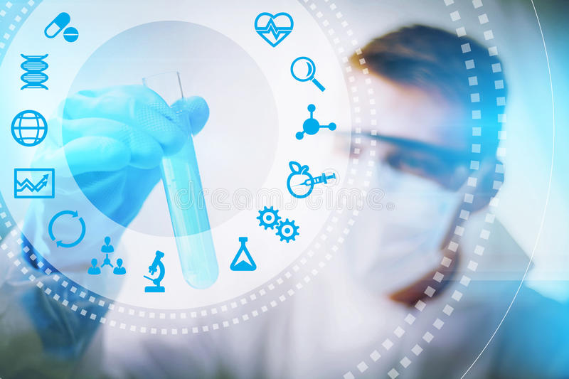 Biotechnology scientist concept. Biotechnology researcher concept or biotech science, close up of male biologist doing experiment stock illustration