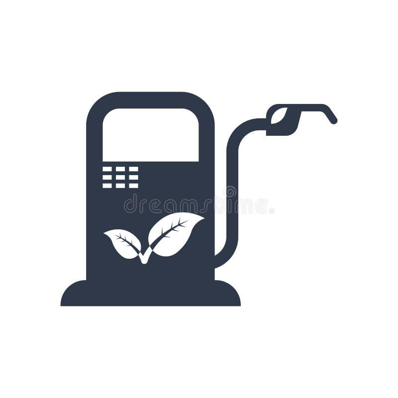 Biotreibstoffikonenvektorzeichen und -symbol lokalisiert auf weißem backgroun stock abbildung