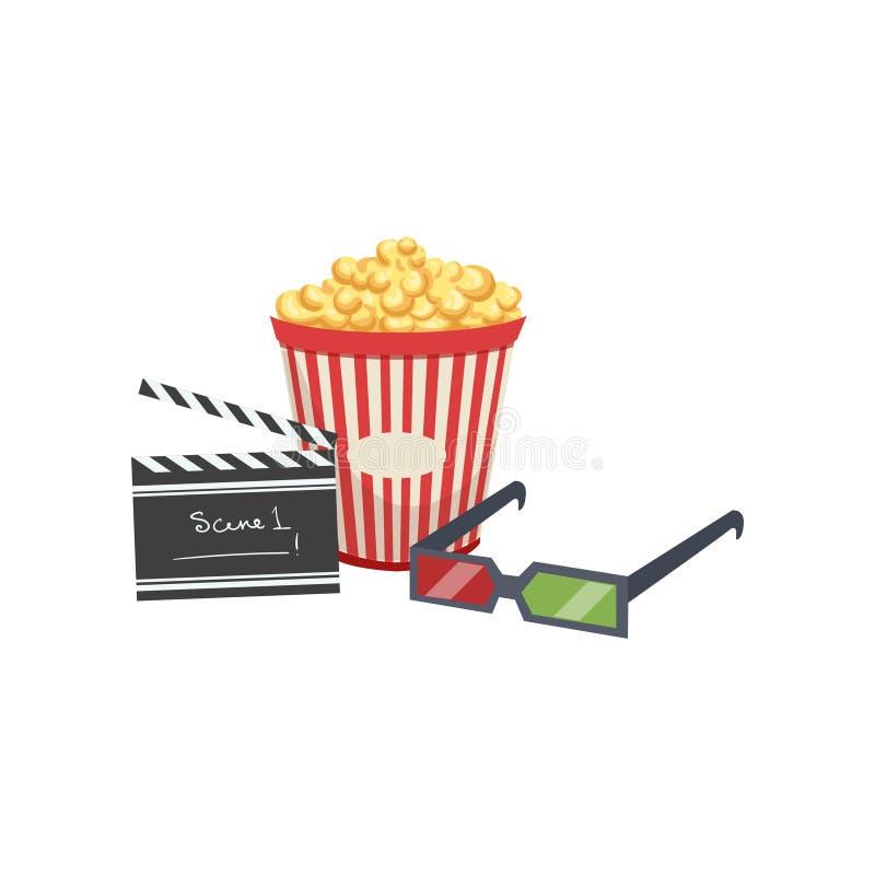 Biouppsättning, popcorn, clapperbräde och vektorillustration för exponeringsglas 3d på en vit bakgrund royaltyfri illustrationer