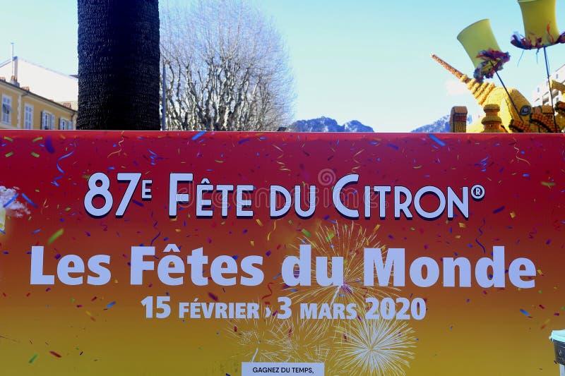 Bioves trädgårdar i Menton under citronfestivalen royaltyfri bild