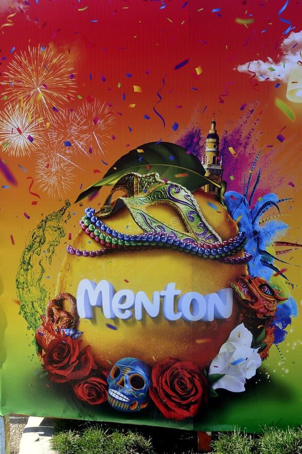 Bioves trädgårdar i Menton under citronfestivalen royaltyfri foto