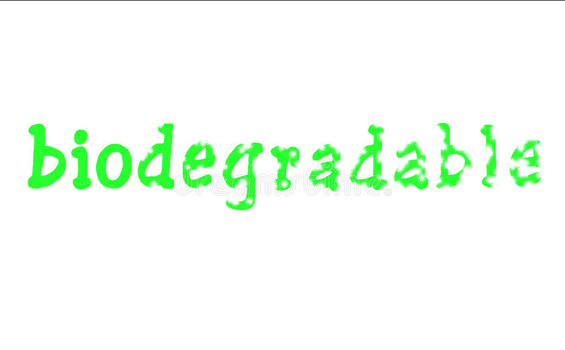 Bioword. Text conceptualizing the breaking down of a biodegradable product royalty free illustration