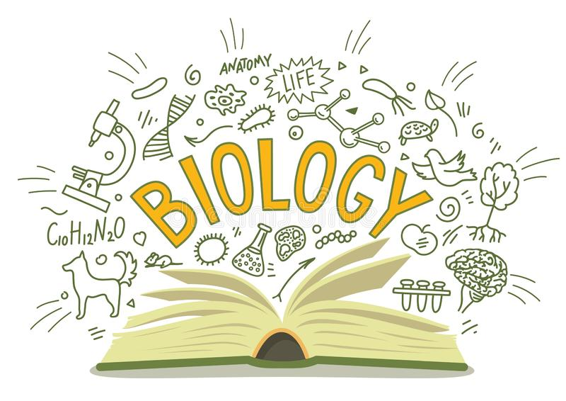bipeds Ανοικτό βιβλίο με τα doodles με την εγγραφή ελεύθερη απεικόνιση δικαιώματος