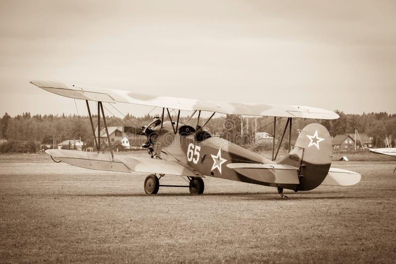 Biplan Polikarpov Po-2, samolot WW2 zdjęcia stock