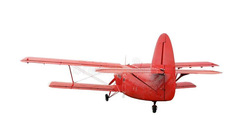 Biplan rouge d'avion avec le moteur à piston photo libre de droits