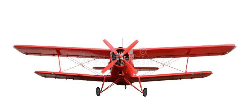 Biplan rouge d'avion avec le moteur à piston photographie stock libre de droits