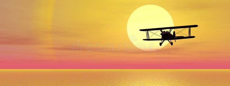 Biplan sobre el océano ilustración del vector
