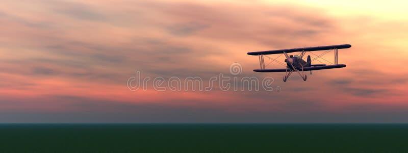 Biplan vid solnedgång royaltyfri illustrationer