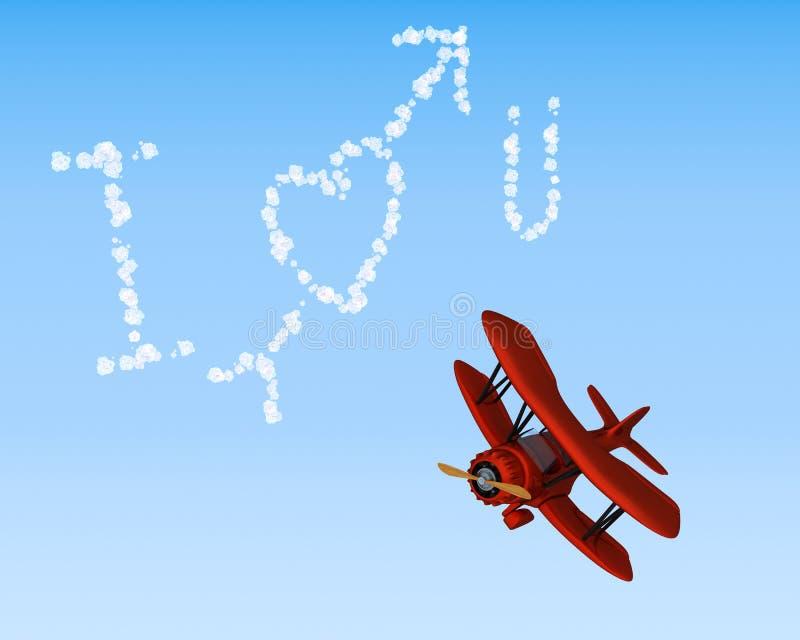 biplane ι ουρανός αγάπης που γράφει σας διανυσματική απεικόνιση