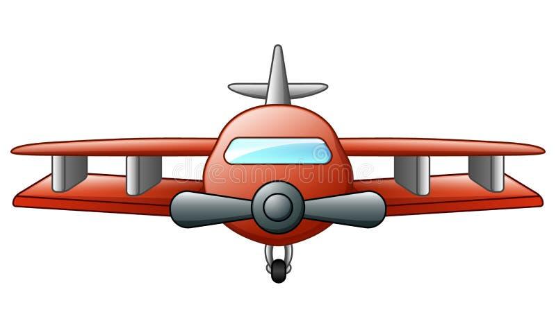 Biplane κινούμενων σχεδίων πέταγμα που απομονώνεται στο άσπρο υπόβαθρο απεικόνιση αποθεμάτων