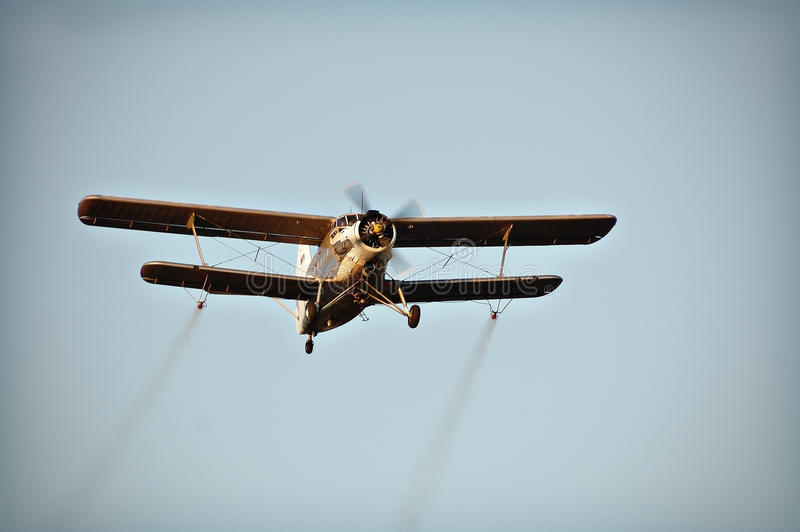 Biplane. Double-winged plane used for crop dusting or mosquito spraying royalty free stock photos