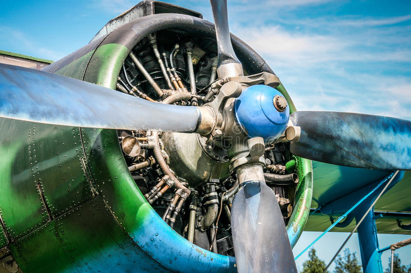 Biplane. Four propellers on a single engine biplane (Antonov An-2 stock images