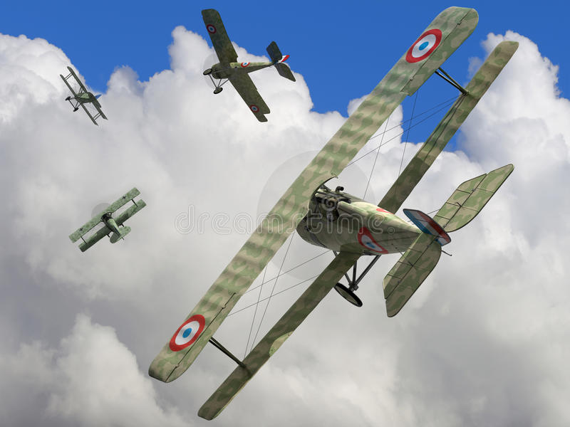 Biplane. The fighter biplane of time period the World War I. 3D visualisation stock illustration