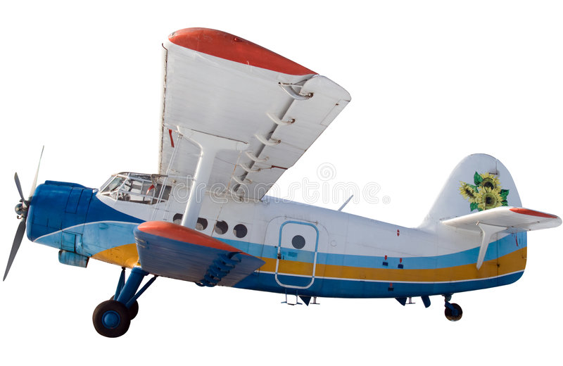 Biplane. Soviet Biplane on display at a aircraft museum - on a white background royalty free stock photography