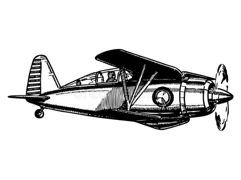 Biplane aircraft in flight. Vintage style vector illustration vector illustration